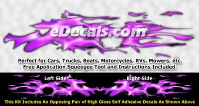 FLM947 Purple Realistic Flame Graphic Decal