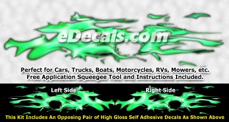 FLM949 Green Realistic Flame Graphic Decal