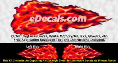 FLM956 Red Realistic Flame Graphic Decal