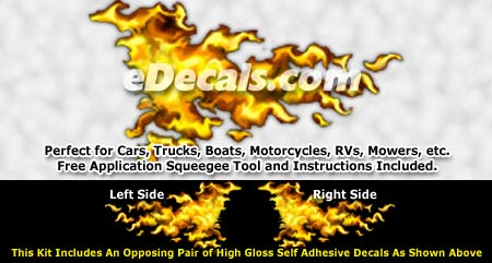 FLM960 Yellow Realistic Flame Graphic Decal