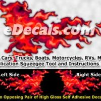 FLM961 Red Realistic Flame Graphic Decal