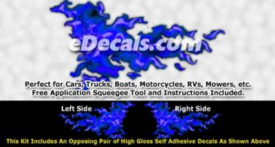 FLM963 Blue Realistic Flame Graphic Decal