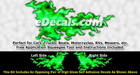 FLM964 Green Realistic Flame Graphic Decal