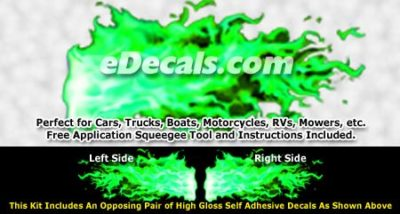 FLM969 Green Realistic Flame Graphic Decal