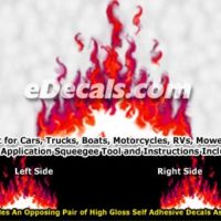 FLM971 Red Realistic Flame Graphic Decal