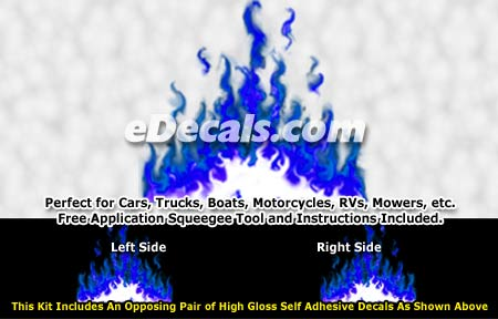 FLM973 Blue Realistic Flame Graphic Decal