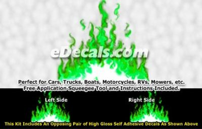 FLM974 Green Realistic Flame Graphic Decal