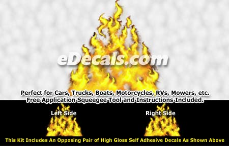FLM975 Yellow Realistic Flame Graphic Decal