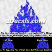 FLM978 Blue Realistic Flame Graphic Decal