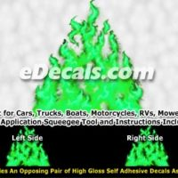 FLM979 Green Realistic Flame Graphic Decal