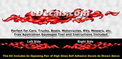 FLM981 Red Realistic Flame Graphic Decal