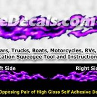FLM982 Purple Realistic Flame Graphic Decal