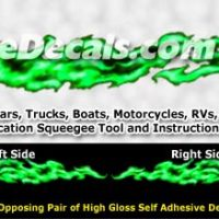 FLM984 Green Realistic Flame Graphic Decal