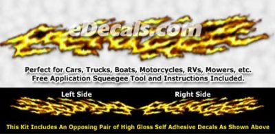 FLM985 Yellow Realistic Flame Graphic Decal