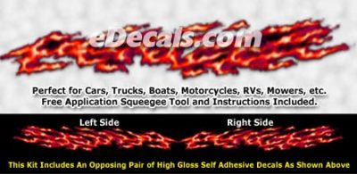 FLM986 Red Realistic Flame Graphic Decal