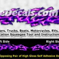 FLM987 Purple Realistic Flame Graphic Decal