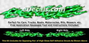 FLM989 Green Realistic Flame Graphic Decal