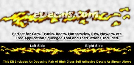 FLM990 Yellow Realistic Flame Graphic Decal