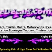 FLM992 Purple Realistic Flame Graphic Decal