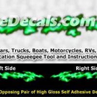 FLM994 Green Realistic Flame Graphic Decal