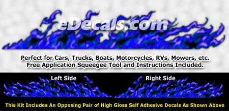 FLM998 Blue Realistic Flame Graphic Decal