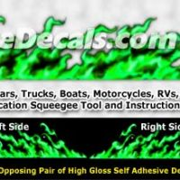 FLM999 Green Realistic Flame Graphic Decal