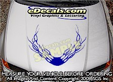HDA101 Flames Hood Accent Graphic Decal