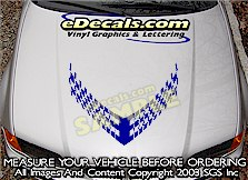 HDA102 Checkered Hood Accent Graphic Decal