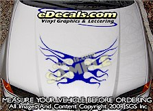 HDA119 Flames Hood Accent Graphic Decal