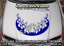 HDA125 Flames Hood Accent Graphic Decal