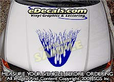 HDA131 Flames Hood Accent Graphic Decal
