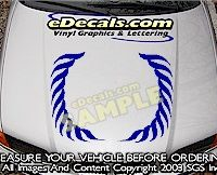 HDA157 Wreath Ornate Hood Accent Graphic Decal