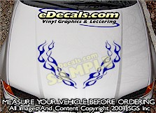 HDA172 Flames Hood Accent Graphic Decal