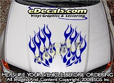 HDA199 Flames Hood Accent Graphic Decal