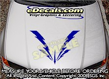 HDA223 Lightning Bolts Hood Accent Graphic Decal