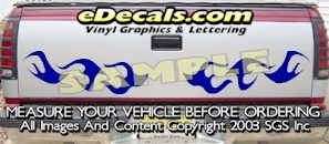 HDA500 Flames Tribal Tailgate Accent Graphic Decal