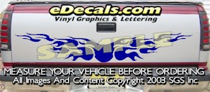 HDA567 Flames Tribal Tailgate Accent Graphic Decal