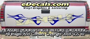 HDA571 Flames Tribal Tailgate Accent Graphic Decal
