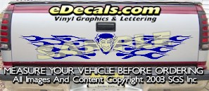 HDA582 Flames Devil Tribal Tailgate Accent Graphic Decal