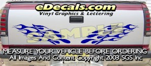 HDA583 Flames Tribal Tailgate Accent Graphic Decal