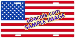 LIC101 Standard American Flag Aluminum License Plate