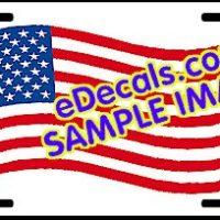 LIC103 American Flag Waving Aluminum License Plate