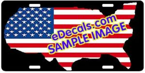 LIC104 American Flag USA Cutout Aluminum License Plate