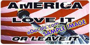 LIC106 American Flag Love It or Leave It Aluminum License Plate