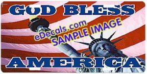 LIC108 American Flag God Bless America Aluminum License Plate