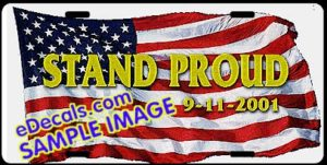 LIC109 American Flag Stand Proud Aluminum License Plate