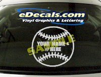 SPT114 Add Your Name Baseball Ball Sport Cartoon Decal