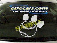 SPT118 Baseball Paw Sport Cartoon Decal