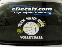 SPT129 Add Your Name Volleyball Sport Cartoon Decal