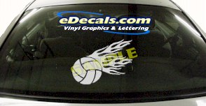 SPT132 Volleyball Flame Fire Sport Cartoon Decal